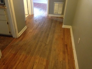 Solid Red Oak wood floor in San Marco, Jacksonville, Florida, before refinishing
