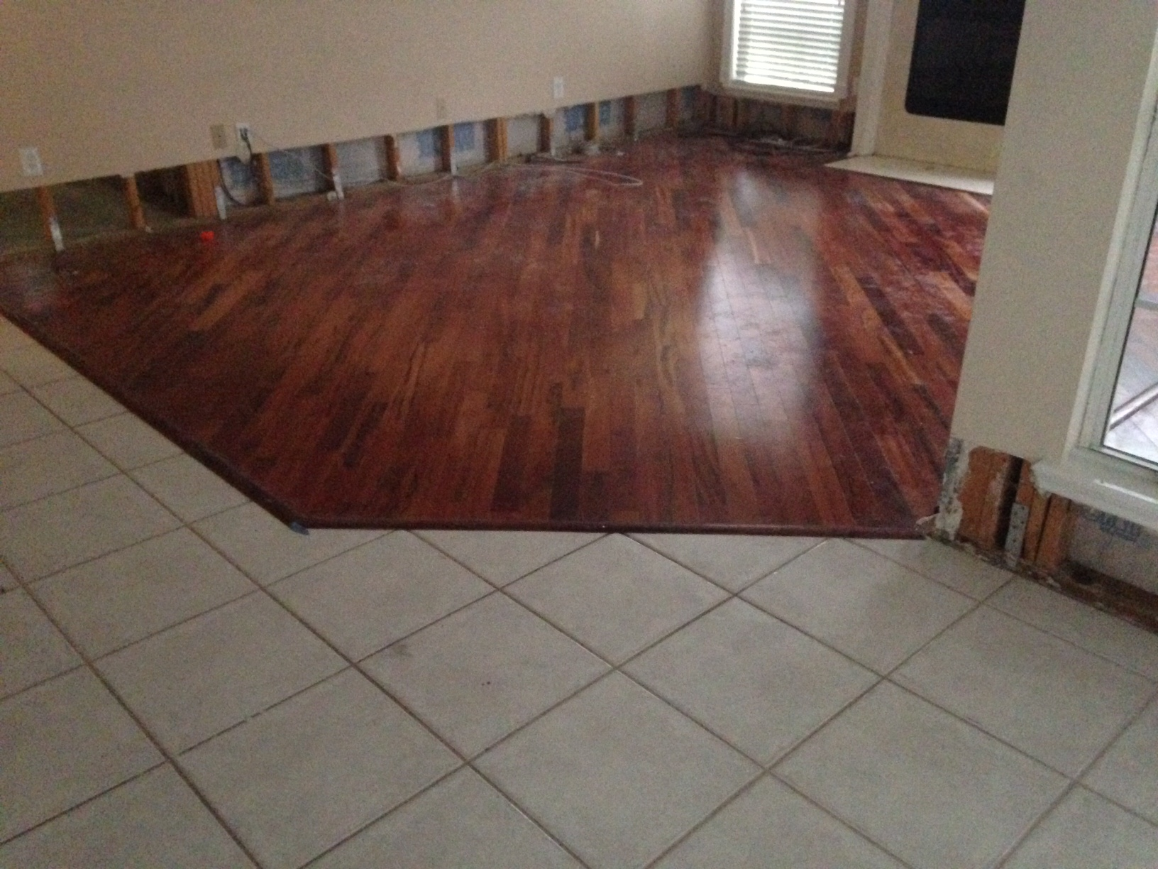 Replacing a tile floor with hardwood thefloors co for Replacing hardwood floors