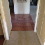 Old, worn, contractor grade carpeting and tile flooring to be removed.