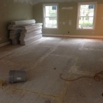 Wood subfloor in kitchen.