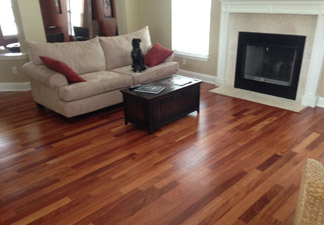 New Santos Mahogany Engineered Wood Flooring, installed in a home in Jacksonville Beach