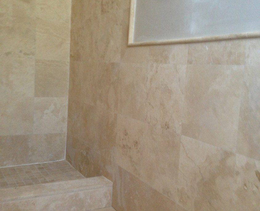 Tiled Shower with added mosaic tile detail