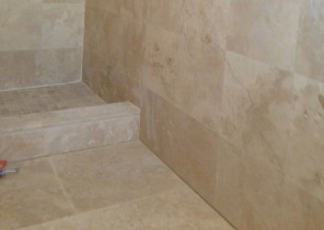 Bathroom floor, wall, and shower - Travertine