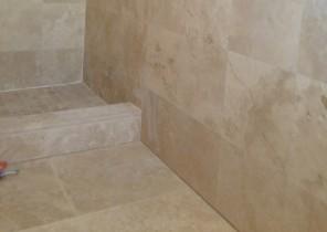 Bathroom floor, wall, and shower - Travertine