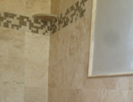 Detail - Travertine/Stone/Glass/Tile inlay - bathroom shower
