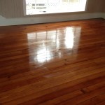 Heart Pine Solid wood flooring Refinish project - during coating