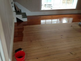 Heart Pine Solid wood flooring Refinish project - during coating - St. Augustine