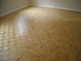 Refinished Parquet wood flooring.