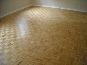 Refinished Parquet wood flooring.