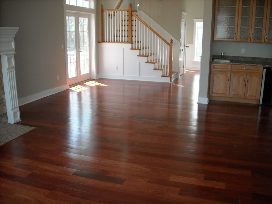 Prefinished Engineered Santos Mahogany with solid treads
