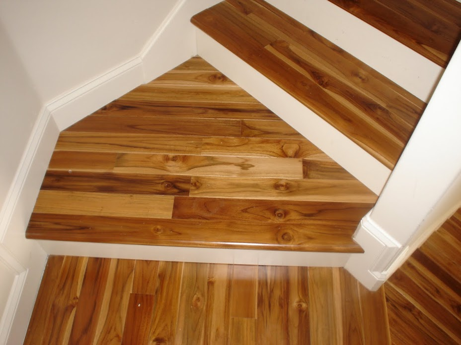 Teak, Prefinished, Engineered Stairs