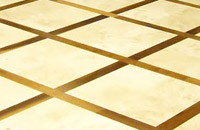 Travertine floor with Walnut Inlay