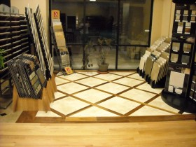 Travertine floor, with Walnut Inlay