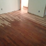 Old, solid Red Oak wood floors prior to refinishing