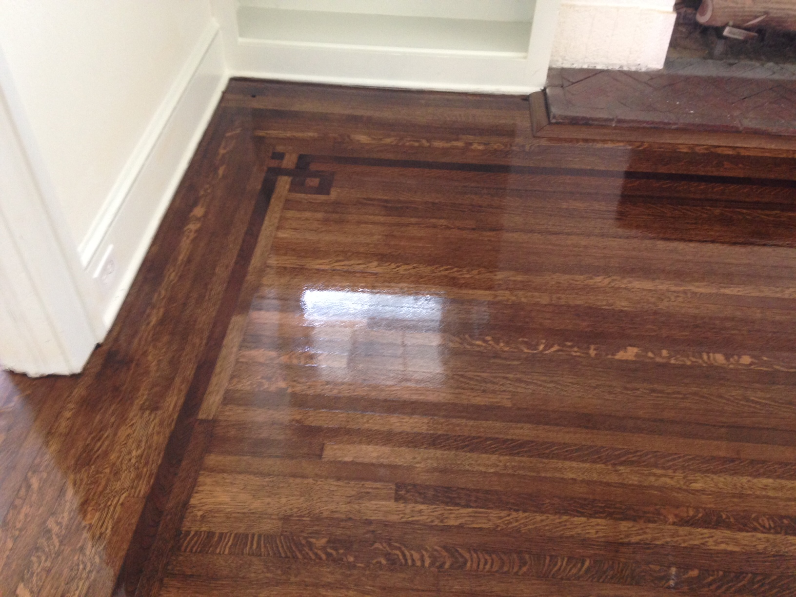 Elegant Refinished Old Hardwood Floors Shine As Finish Dries