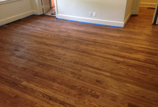 Refinished solid wood flooring near San Marco
