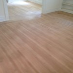 Sanded hardwood floors, ready for refinishing
