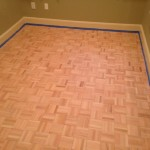 Sanded parquet flooring, ready for stain and finish