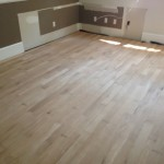 Unfinished solid oak flooring installed