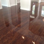 Solid wood floor during coating