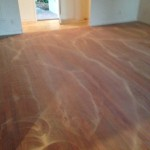 Screened Brazilian Cherry Wood Flooring, between coats of Bona polyurethane finish