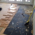 Water damaged wood flooring area being repaired