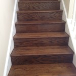 Sanded and Stained solid Red Oak wood stairs