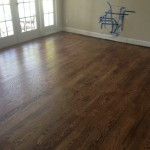 Refinished (sanded and stained) solid Red Oak wood floor