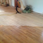 Progress in sanding the wood floors