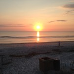 Sunset at Jacksonville Beach Florida at the end of the workday