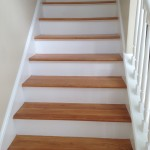 Wood stairs prior to sanding and staining to refinish