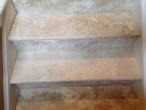 Close-up of travertine stairway