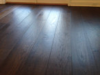 Close-up of wire brushed, engineered White Oak wood flooring