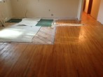 exposed sub-floor prior to weave-in wood floor repair