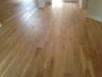Wire brushed engineered White Oak wood flooring installed