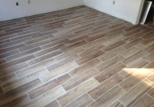 wood look floor tile installed - Wood Look Floor Tiles