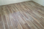 Wood look floor tiles installed