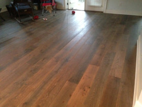 New European White Oak wood flooring installed