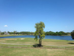 View of the lake at the Deerwood Country Club