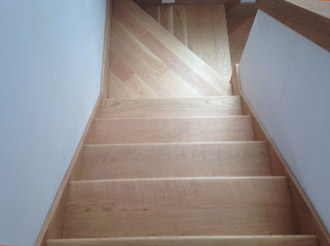 View of solid American Cherry staircase