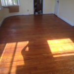 Old solid Red Oak wood floors before refinishing