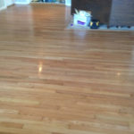 Old solid Red Oak wood floor after repair & refinishing