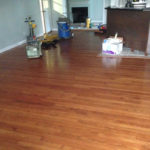 Old solid Red Oak wood floor before refinishing