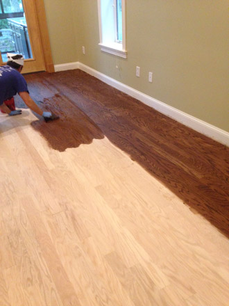 red oak wood floors being stained