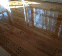 Finishing pegged look white oak flooring