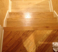 New solid Red Oak stair treads match existing floor