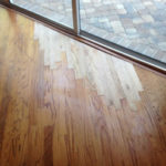 New wood floor planks installed