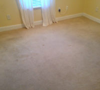 Old carpeting on the bedroom floor, prior to removal