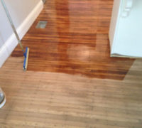 Old Quarter Sawn White Oak wood flooring during refinishing