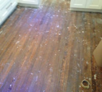 Old Quarter Sawn White Oak Wood Floor prior to refinishing